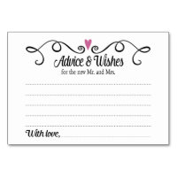 Two Hearts Advice and Wishes Wedding Card