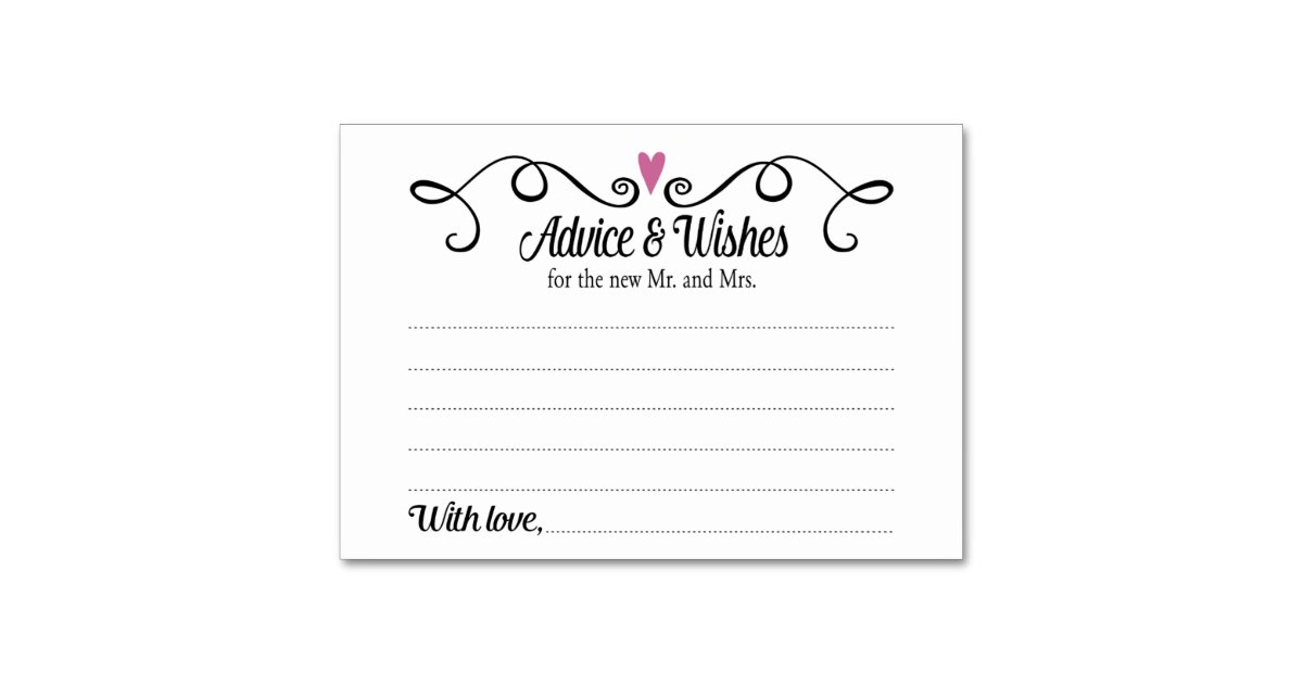 Wedding Gift List Advice : Two Hearts Advice and Wishes Wedding Card Table Cards Zazzle