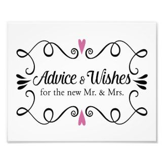 Two Hearts Advice and Wishes Wedding Sign Photo Print