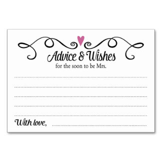 Two Hearts Advice & Wishes Bridal Shower Card