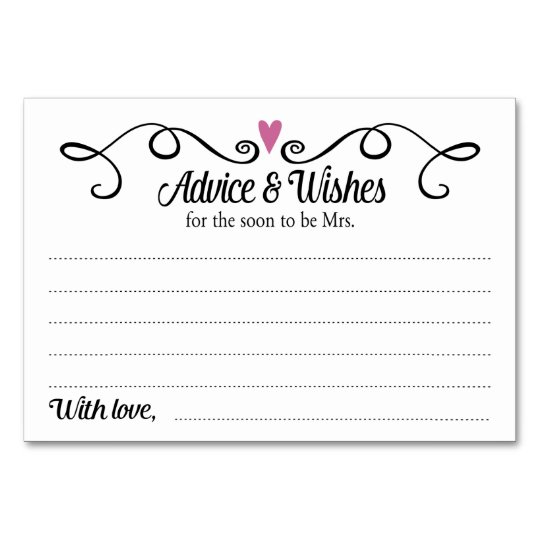 two hearts advice wishes bridal shower card
