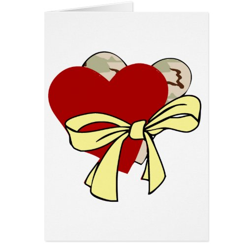 Two hearts and yellow ribbon greeting card