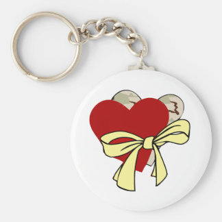 Two hearts and yellow ribbon key chains