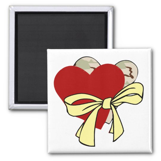 Two hearts and yellow ribbon magnet