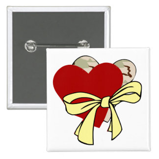 Two hearts and yellow ribbon pinback button