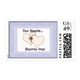 Two Hearts Become One Card Postage Stamp