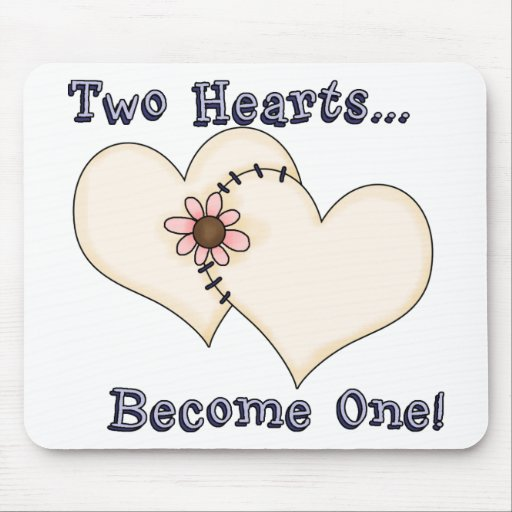 Two Hearts Become One Mousepads