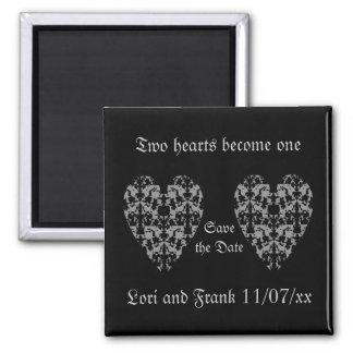 Two hearts become one save the date magnet