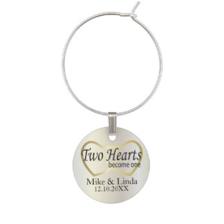 Two Hearts Become One Wine Glass Charm