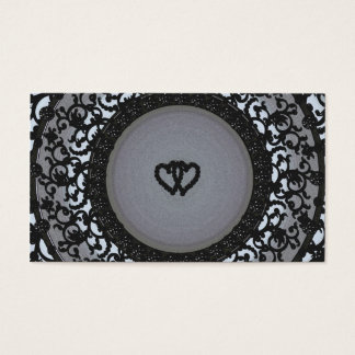 Two Hearts Black Sequin Look Business Card