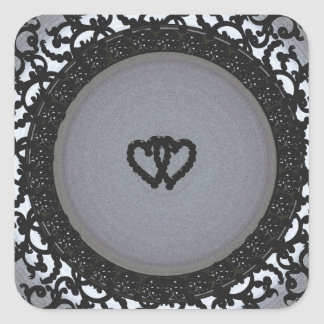 Two Hearts Black Sequin Look Square Sticker