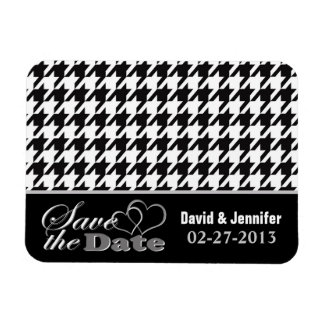 Two Hearts Black & White Houndstooth Save the Date Magnet