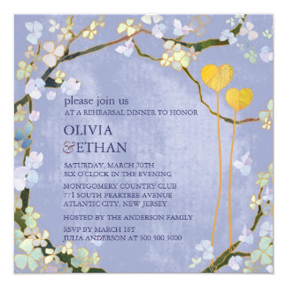 "Two Hearts Blue Elegant Rehearsal DInner Invites 5.25"" Square Invitation Card"