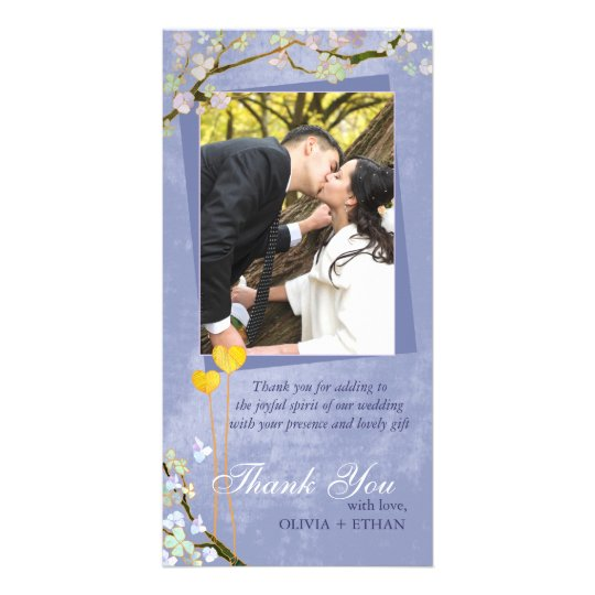 Two Hearts Blue Floral Wedding Thank You Card