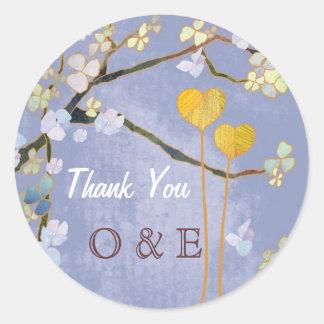 Two Hearts Blue Monogram Wedding Thank You Sticker