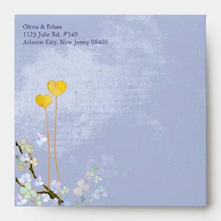 Two Hearts Blue Wedding Invitation Square Envelope