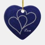 Two Hearts Bonded - Faux Diamond - Ornament