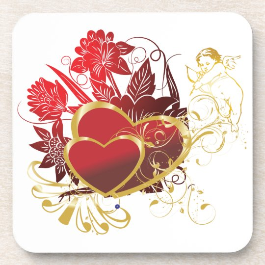 Two Hearts Bouquet Drink Coaster