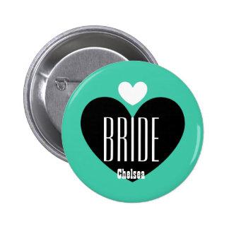 Two Hearts Bride Modern Wedding V09 TEAL Button
