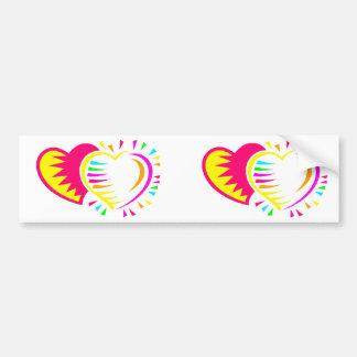 two hearts colorfull graphic bumper sticker