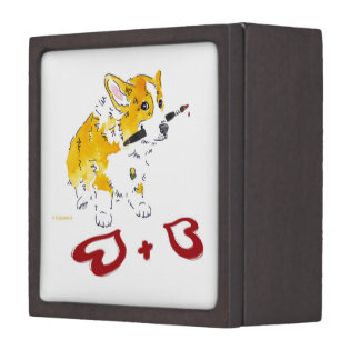 Two Hearts Corgi Gift Box Premium Keepsake Boxes