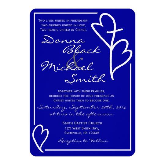 two hearts cross religious wedding invitations zazzle com