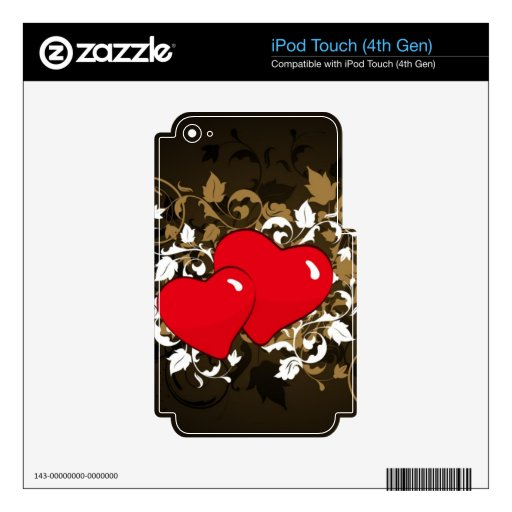 two hearts decal for iPod touch 4G