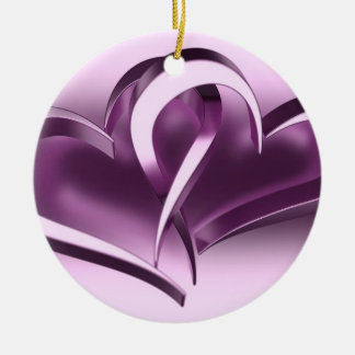 Two Hearts Double-Sided Ceramic Round Christmas Ornament