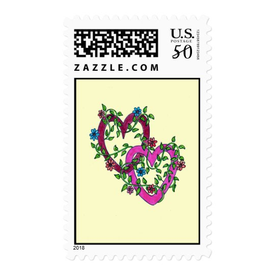Two Hearts Entwined with Flowers Postage