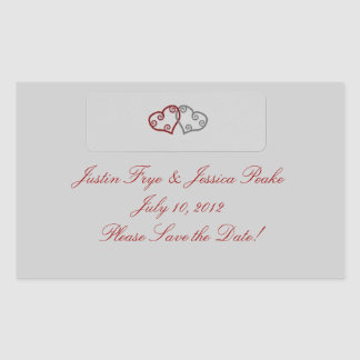 Two Hearts Envelope Seal Rectangular Sticker