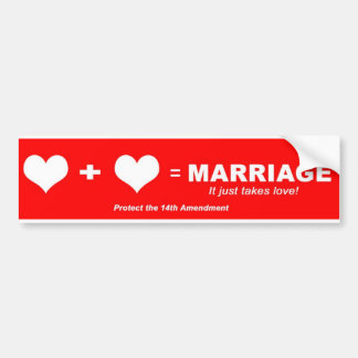 Two Hearts Equal Marriage Bumper Sticker