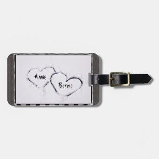 Two Hearts Fresh White Snow Distressed Grey Wood Tags For Luggage