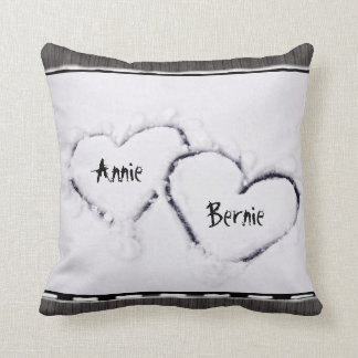 Two Hearts Fresh White Snow Distressed Grey Wood Throw Pillow