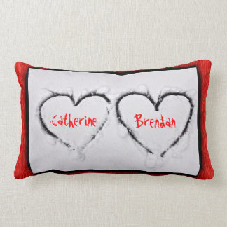 Two Hearts Fresh White Snow Red Corrugated Metal Throw Pillow