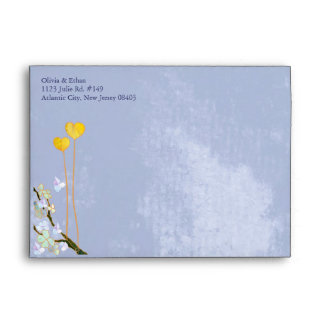 Two Hearts in Blue Wedding Invitation A7 Envelopes