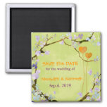 Two Hearts in Green Spring Wedding Save The Date Magnets