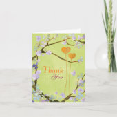 Two Hearts in Lime Green Wedding Thank You Cards card