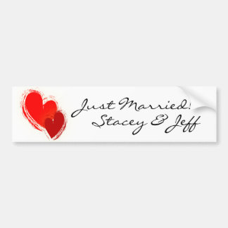 Two hearts in love bumper stickers