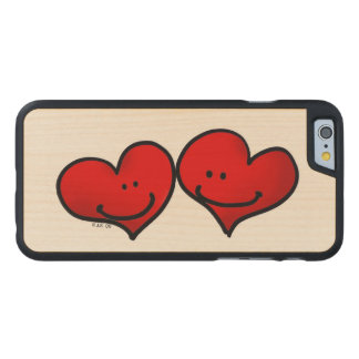two hearts in love carved maple iPhone 6 slim case