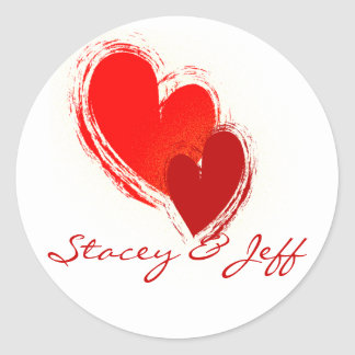 Two hearts in love classic round sticker