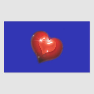 Two hearts in love look like one big heart rectangular sticker