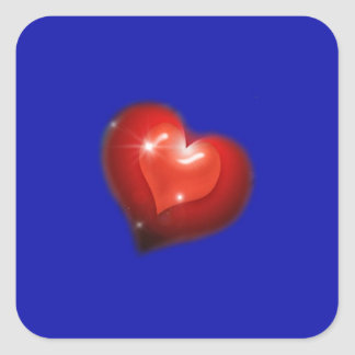 Two hearts in love look like one big heart square sticker
