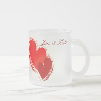 Two hearts in love 10 oz frosted glass coffee mug