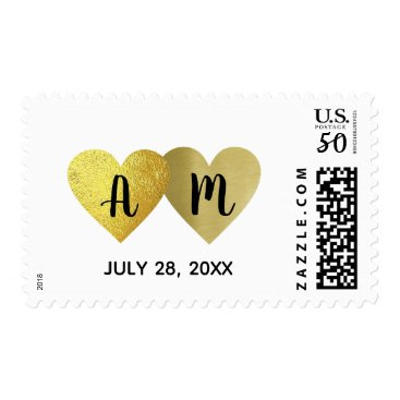 Bride Themed two hearts in love with bride groom initials postage
