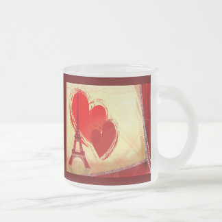 Two hearts in Paris Frosted Glass Coffee Mug