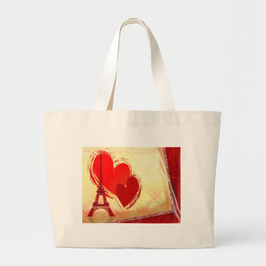 Two hearts in Paris Large Tote Bag
