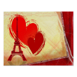 two hearts in Paris Poster