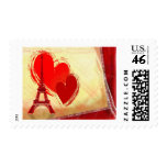 Two hearts in Paris Stamps