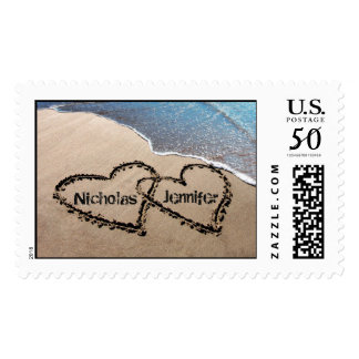 Two Hearts In Sand Wedding Beach Postage Stamps