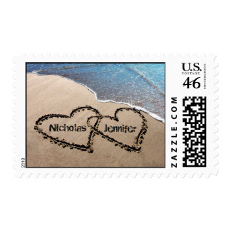 Two Hearts In Sand Wedding Custom Postage Stamps